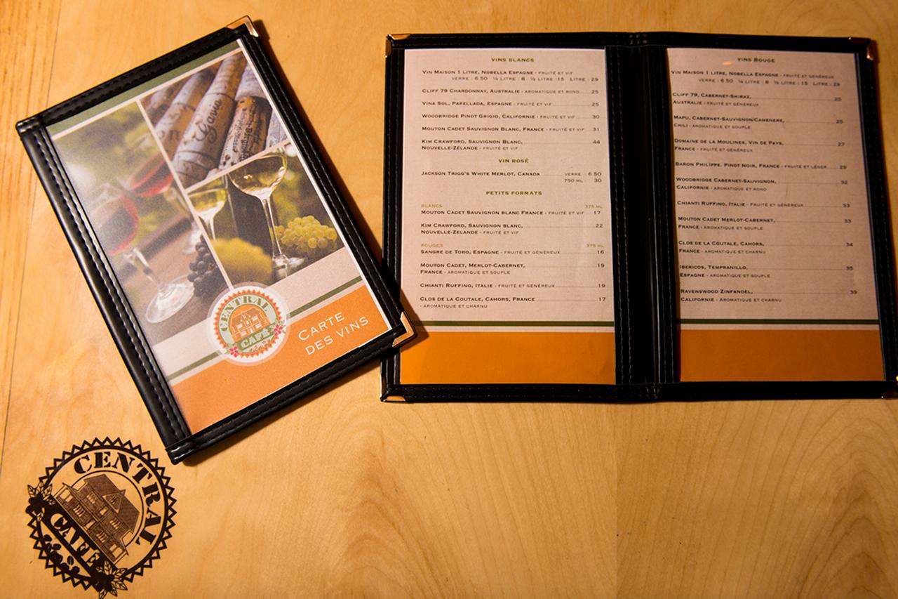 Notre Carte des Vins | Central Café Rimouski